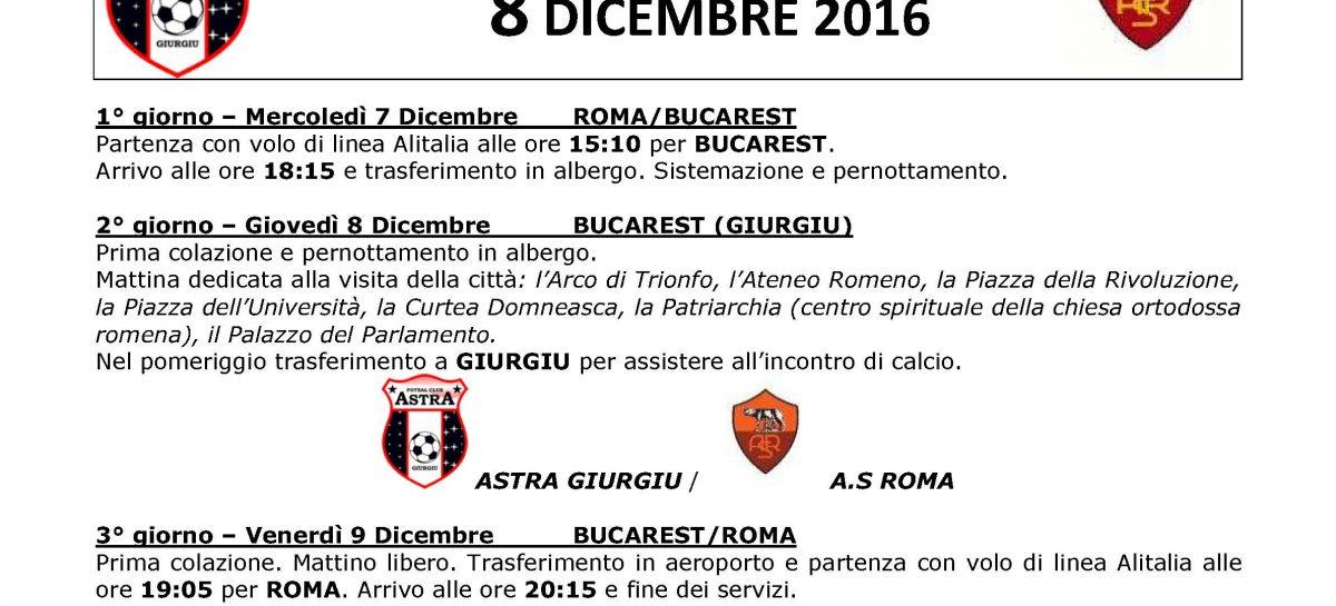 SEGUI LA ROMA IN EUROPA LEAGUE – 8 DICEMBRE ASTRA GIURGIU