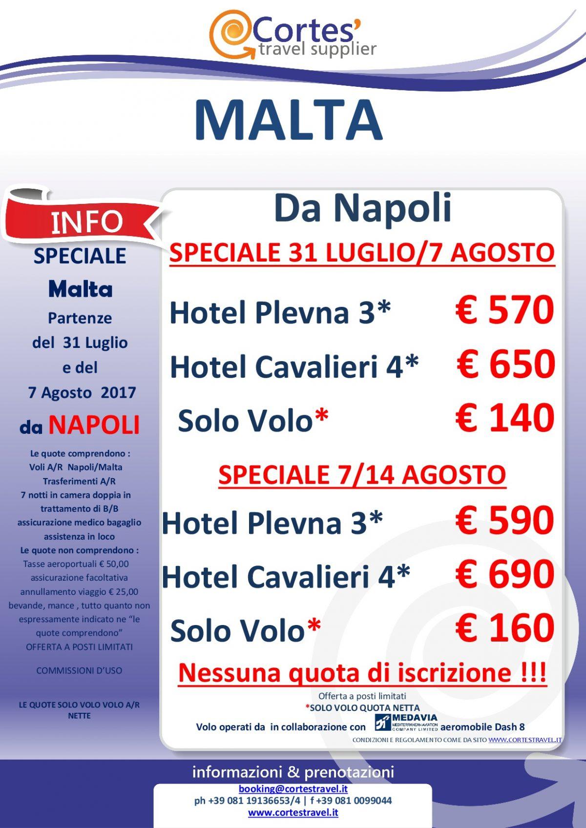 Offerta Malta da Napoli